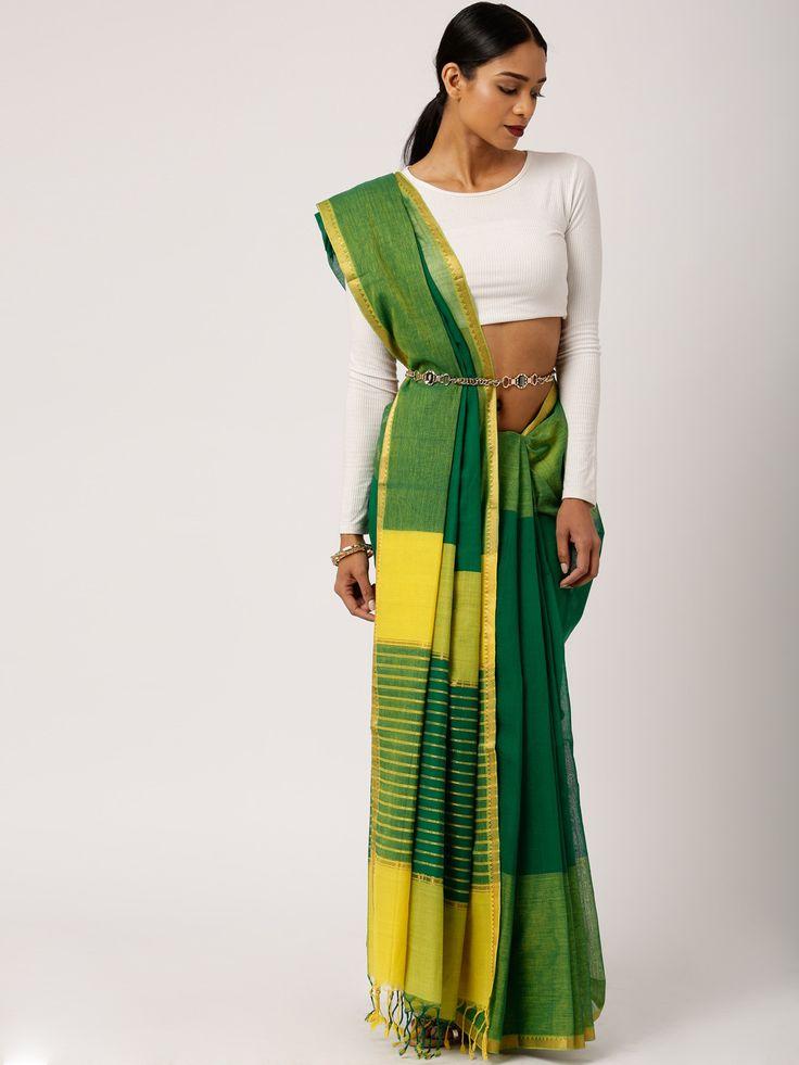 gocoop Green & Yellow Mangalagiri Traditional Saree #Green, #PartyWear, #Mangalagiri