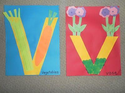V for vegetables and vase