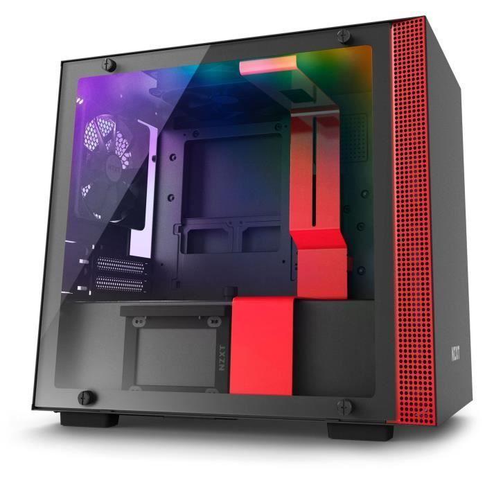NZXT Boîtier PC Smart H200i – Mini-ITX – Smart Device – Panneau en verre trempé – Noir et rouge