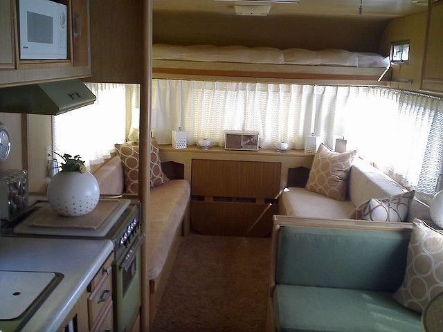 Beautifully Decorated Vintage Travel Trailer View From