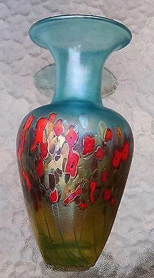 "Robert Held signed hand blown 9"" glass vase Poppy & Flower Boquet series"