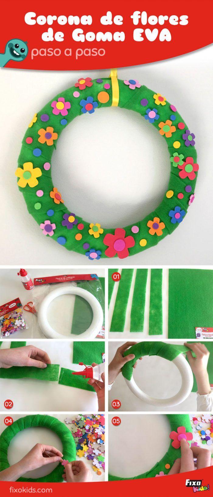 Cómo hacer una corona de flores con goma eva. manualidades decorativas. manualidades fáciles. Manualidades para niños. Ideas decoración flores.