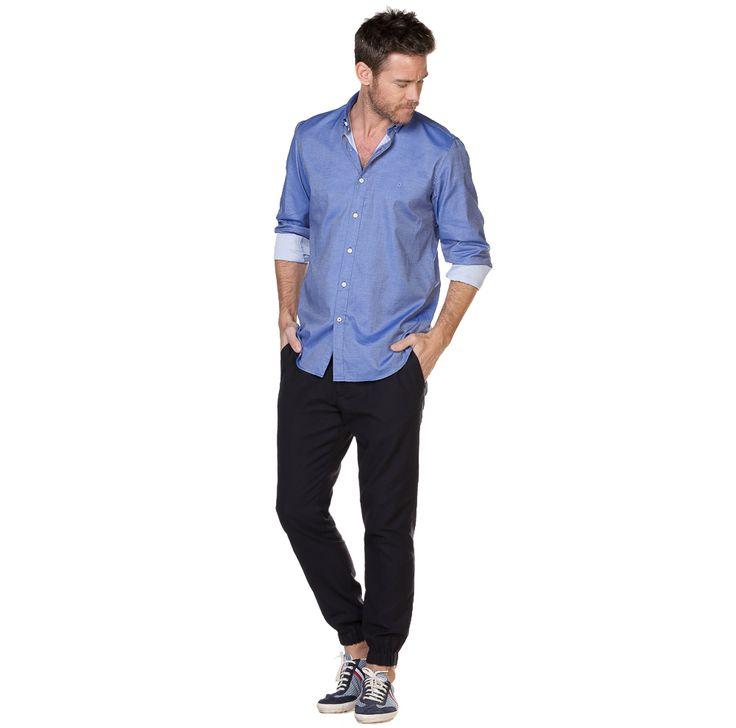 Camisa Maquineta Marino Monti Cuello Estrecho Classic Fit | El Ganso Online Store