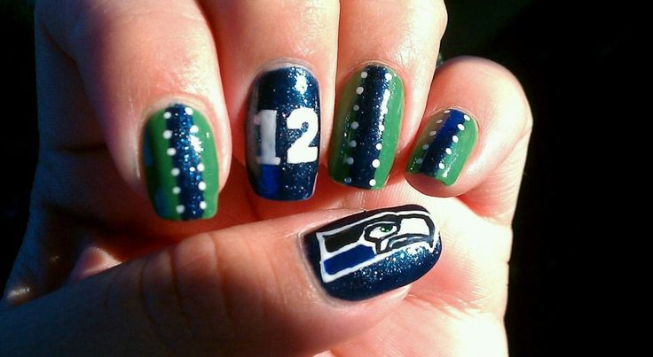 Seahawks Nail Art - NovaPopp!: Idea, Seahawks Nails, Nailart, Nail Designs, Makeup, Seattle Seahawks, Seahawk Nails, Nail Art, Seahawks Baby