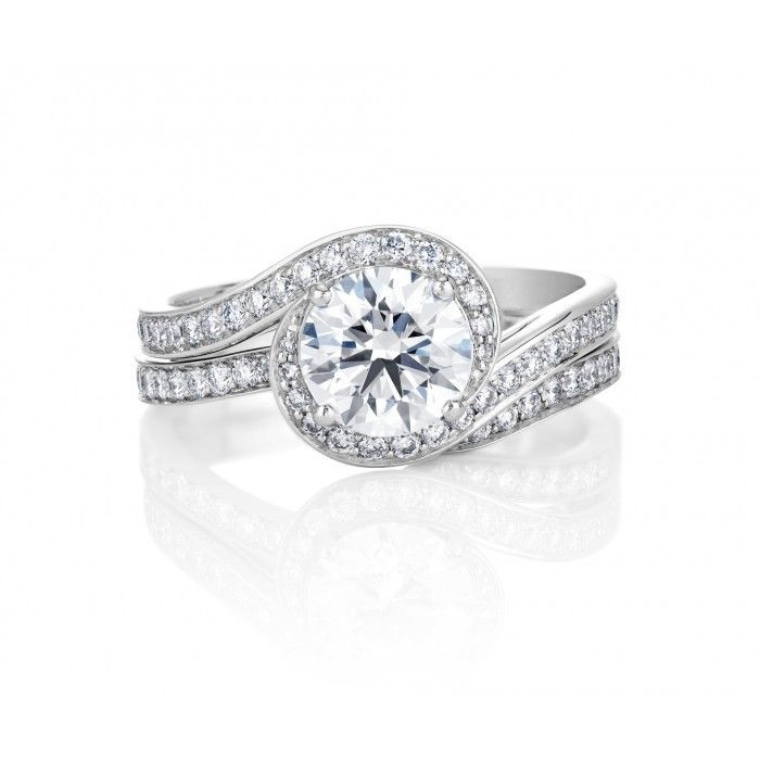De Beers Caress Diamond Engagement Ring with matching band