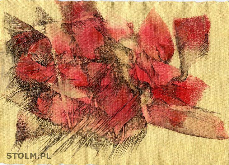 Red abstracion art ink, paper Stanisława Olszańska Marszałek