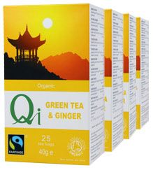 Qi Organic Fairtrade Green Tea & Ginger (1 Month) With its infusion of natural dried ginger root, this tea is good for the circulation and is also highly prized as an aid to digestion. A good warming, healthy winter cuppa.   ONE MONTH SUPPLY  (4 packs/100 bags) £11.04
