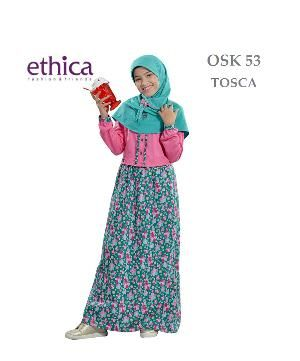 Baju Muslim Gamis Anak Ethica OSK 53 Toska Size 3 - Lebaran Sale
