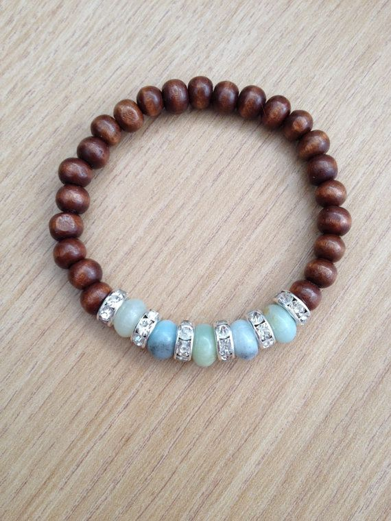 wooden beaded bracelet with amazonite and rhinestone spacers - Bracelet Design Ideas