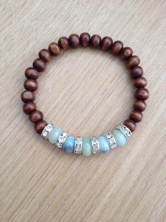 Wooden beaded bracelet with amazonite and rhinestone spacers, handmade jewelry