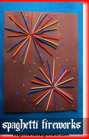 Painted Spaghetti Fireworks - Kid's arts and crafts for the 4th of July Independence Day made with pasta