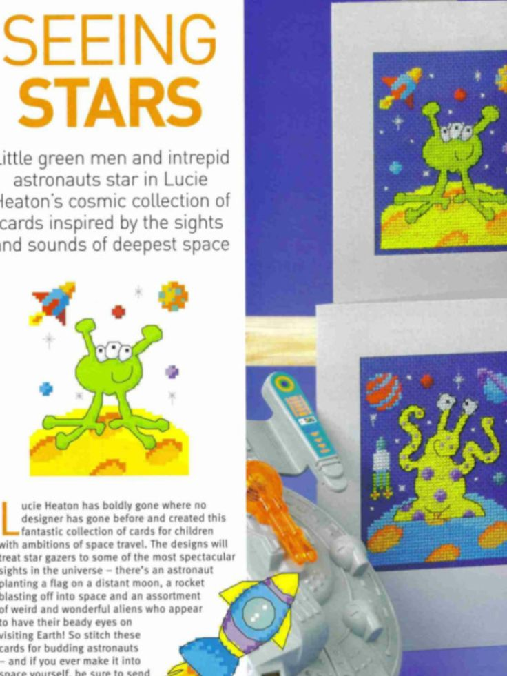 Outer Space 1/2 Cross Stitch Card Shop Issue 54 May/June 2007 Saved