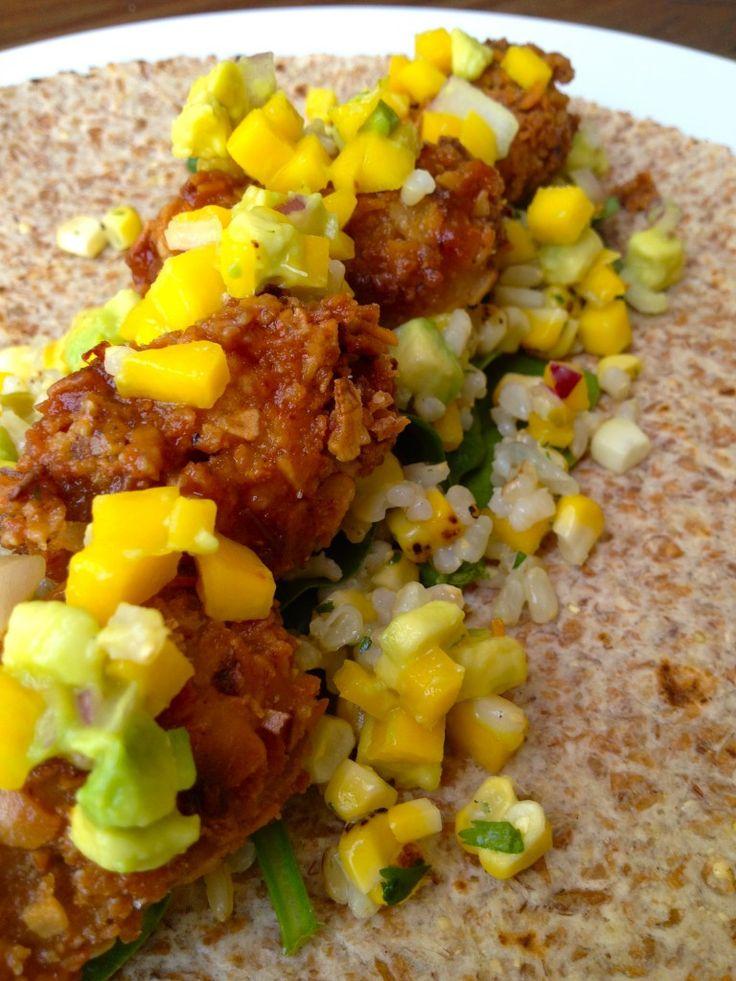 Coconut Crusted Seitan, Charred Corn Lime Rice, & Mango Salsa