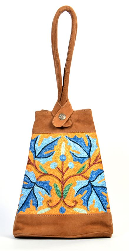 @styleincraft #Styleincraft #Handmadeitems #Handbags Handmade Antique Design Grey Color Leather Embroidery Big Pouch madeup of Velvet material all over embroidery with lomg handels  for womens and girls to carry casually  all things in it spacious and suits on every dressing style.Safe magnet closer button