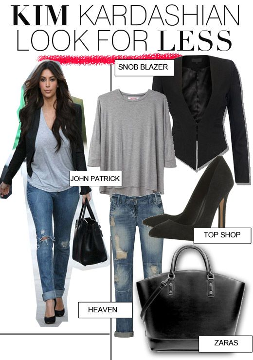 Get Kim Kardashian's casual look for less. Her style can go from effortlessly casual chic to a glamorous fashionista over night