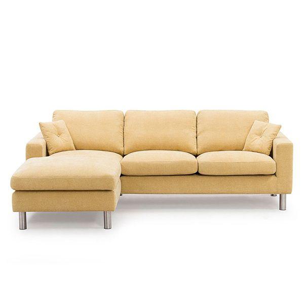 Viken soffa, 2-sits med schäslong. En snygg och modern soffa som tillverkas i både läder och tyg. Modellen består av en 2-sits och en schäslong som kan placeras till höger eller vänster. Plymåerna är löstagbara.