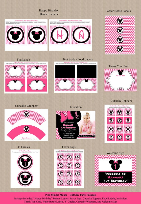 Pink Chevron Minnie Mouse Birthday Party Package  by Honeyprint, $35.00