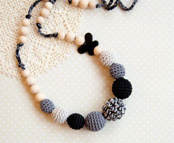 Black grey nursing necklace teething necklace by bysiki on Etsy, $23.00