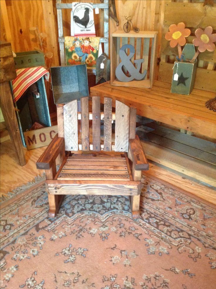 Child's Rustic Rocking Chair we have made at Wooden Wonders Waveland, In.