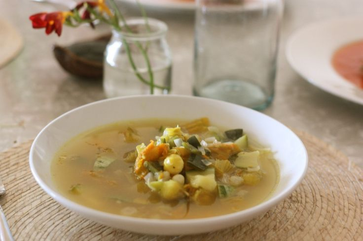 Lesley Tellez is a friend and great chef / food writer / tour guide.  Gotta try her Squash Flower, corn and poblano pepper soup