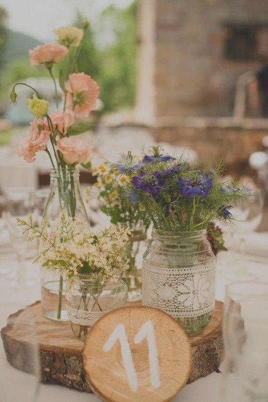 decoración mesa boda campestre www.bodasdecuento.com