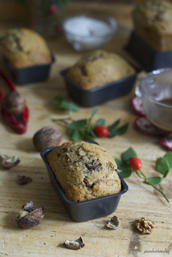 Pane, burro e alici: Mini plumcakes alla banana con noci e cioccolato