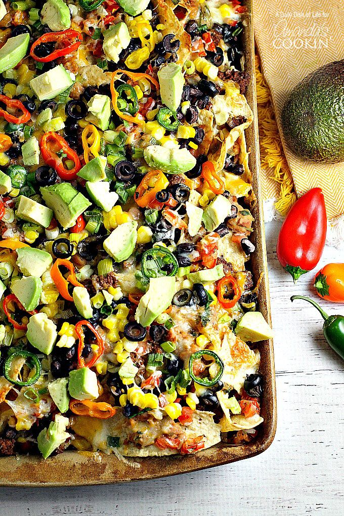 Loaded Nachos are a popular game day recipe packed with healthy ingredients and cheesy goodness! Load up a plate with your favorite fresh nacho ingredients!