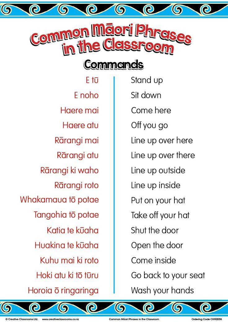 Common Maori Classroom Phrases Charts   Maori Posters