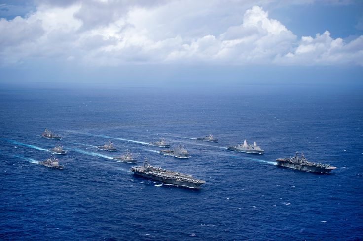 PHILIPPINE SEA (Sept. 23, 2016) USS Ronald Reagan (CVN 76) & USS Bonhomme Richard (LHD 6) lead formation of Carrier Strike Group Five and Expeditionary Strike Group Seven ships including, USS Momsen (DDG 92), USS Chancellorsville (CG 62), USS Stethem (DDG 63), USS Benfold (DDG 65), USS Curtis Wilbur (DDG 54), USS Germantown (LSD 42), USS Barry (DDG 52), USS Green Bay (LPD 20), USS McCampbell (DDG 85), as well as USNS Walter S. Diehl (T-AO 193) during photo exercise at end of Valiant Shield…