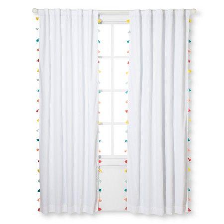 "Tassel Light Blocking Window Curtain White (84""x42"") - Pillowfort™ : Target"