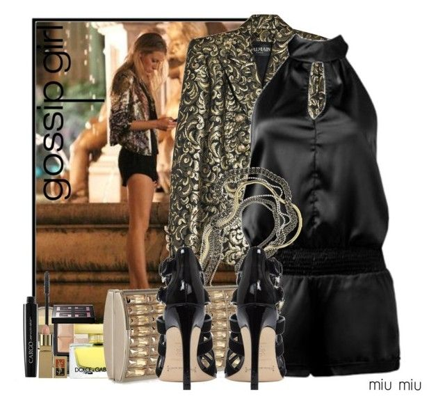 """""""Gossip girl season 4 - Serena"""" by miumiu ❤ liked on Polyvore featuring Balmain, Arden B., Pop Beauty, Givenchy, Dolce&Gabbana, Giles & Brother, Judith Leiber, Yves Saint Laurent, blake lively and blazer"""