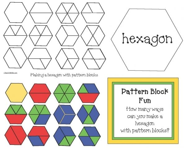 FREEBIE. Challenge students to figure out how many hexagons they can make using pattern blocks. Includes full color + black & white answer-key mats as well as a blank mat filled with the hexagon shape that they can place pieces on.
