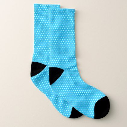 Bright blue polka dot pattern socks - patterns pattern special unique design gift idea diy