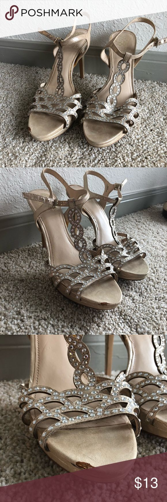 Vince Camuto Heels Champagne colored, worn for one prom and one banquet, they do have SOME wear that is pictured, but a great buy if you only want to wear nice prom shoes once or twice. Comfortable and the wear is not very noticeable other than what is pictured. Heavily discounted for this reason Vince Camuto Shoes Heels