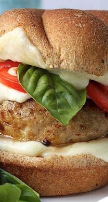 Chicken Caprese Burgers Recipe ~ Says: these babies are 100 and 10% amazing! They're juicy giant