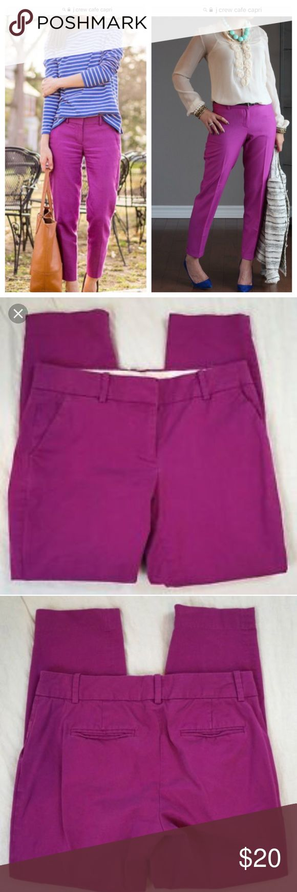 """J.Crew Purple Cafe Capri Pants sz 2 Brand: J. Crew  Color: Purple  Style: Cafe Capri Pants. Broken-in relaxed fit. Flat front with tab closure and diagonal slit pockets. Faux back pockets.  Materials: Cotton & Spandex  Size: 2  Waist: 16"""" Hips: 18"""" Inseam: 25""""  🍍🍍🍍EUC. Bundle & Save with my Other Listings! J. Crew Pants Capris"""