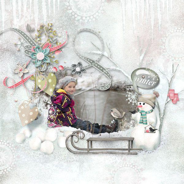 """Terezka v posledním zimním ločku  """"A Winter Romance"""" kit by Sarahh Graphics https://www.pickleberrypop.com/shop/product.php?productid=48968&page=1"""