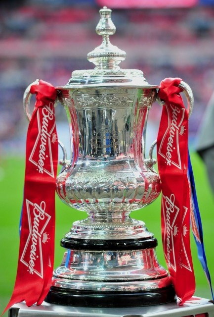 The FA Cup trophy on display before the FA Cup final football match between Liverpool and Chelsea at Wembley Stadium in London, England on May 5, 2012.