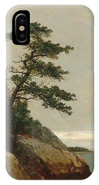 The IPhone X Case featuring the painting The Old Pine Darien Connecticut 1872 by Kensett John Frederick