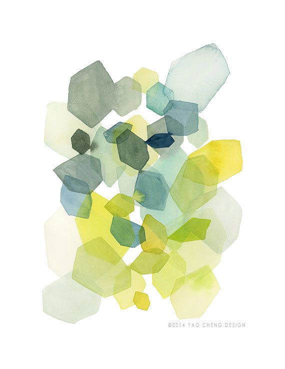 Hexagon in Green and Blue- Watercolor Art Print