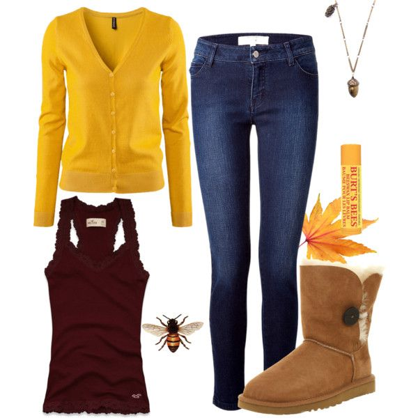 """""""Cute and Comfy Fall Outfit Yellow Dark Red Bee"""" by natihasi on Polyvore"""