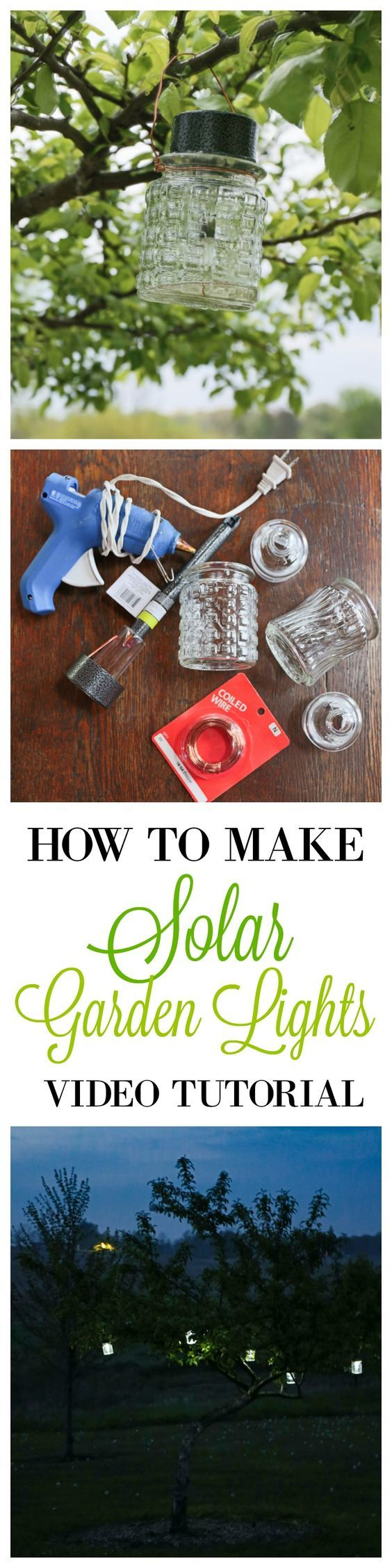 I decided to make my own solar powered garden lights using things found at the Dollar Tree. I stumbled upon the cut glass jars in the cosmetic section and was happy to find the solar garden stakes fit on top perfectly. I though the pattern on the jars would give off pretty reflection on the trees. They remind me of vintage salt and pepper shakers.: