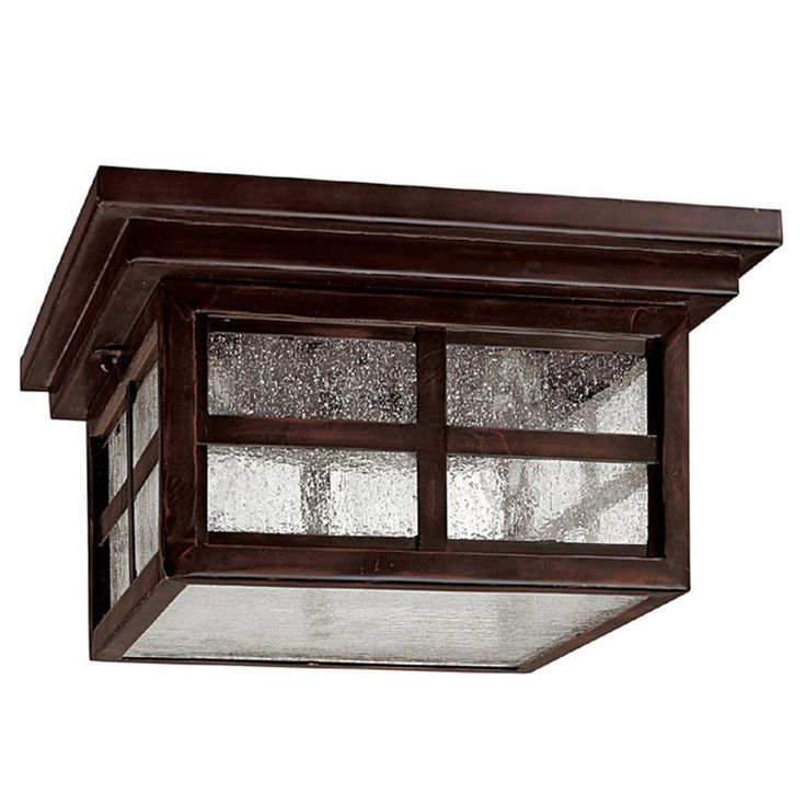 This Preston collection 3-light outdoor ceiling flush mount features a Mediterranean bronze finish. The clear seeded glass adds interest and will give your outdoor decor a whole new look that will compliment classic mission and traditional decors.