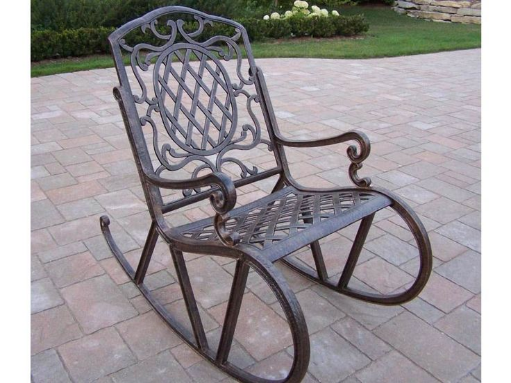 Great Outside Rocking Chairs And Carved Wrought Iron Porch Rocking Chair In Gray  Concrete Tiled Flooring Also