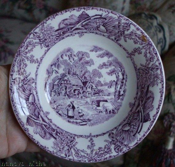 lavender purple toile transferware - photo #41