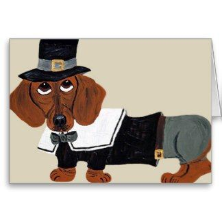 Dachshund Thanksgiving Pilgrim Card