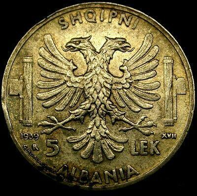 1939 ITALIAN OCCUPIED ALBANIA 5 Leke HIGH GRADE SILVER COLONIAL Coin