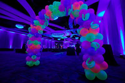 Party People Celebration Company - Special Event Decor Custom Balloon decor and Fabric Designs: Lake Gibson Neon Prom 2012 Orlando Marriott