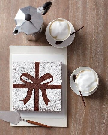 use a template and dust brownies with powdered sugarChristmas Desserts, Ideas, Gift Cake, Chocolates Cake, Powder Sugar, Martha Stewart, Brownies Bows, Big Bows, Stencils