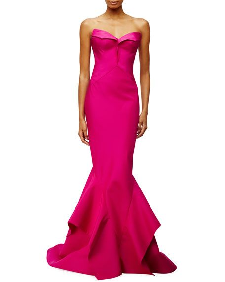 """Zac Posen faille gown. Approx. 60""""L from top of dress to hem. Strapless, pleated sweetheart neckline. Fitted silhouette. Handkerchief hem falls to the floor. Train at back. Hidden back zip. Silk self"""
